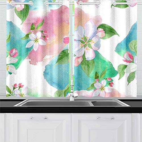 LYAOE Kitchen Curtains Apple Blossom Flower Floral Botanical Window Drapes 2 Panel Set