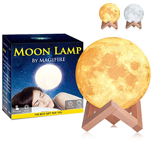 Magifire Night Light Lighting LED 3D Printing Warm Moon Lamp Touch Control Brightness Gift for Kids and Halloween Equipment (2Colors 6 Inch)