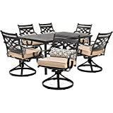 Hanover MCLRDN7PCSQSW6-TAN Montclair 7-Piece Set in Country Cork with 6 Swivel Rockers and a 40'' x 67'' Dining Table Outdoor Furniture, Tan