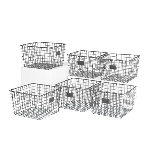 Spectrum Diversified 47976-6 Storage Basket, Medium, Industrial Gray - Pack of 6