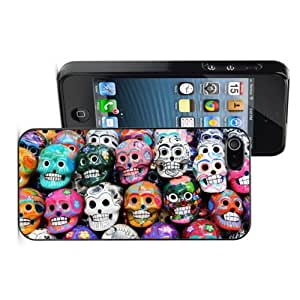 Apple iPhone 4 4S 4G Black 4B455 Hard Back Case Cover Colorful Smiling Skulls from Mexican Tradition