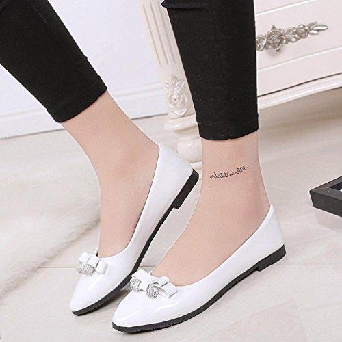 Sikye Casual Chaussure Plate, Femmes Filles Bowknot Talon Bas Chaussures Plates Bout Rond Slip Sur La Robe De Soirée Chaussure De Travail Blanc