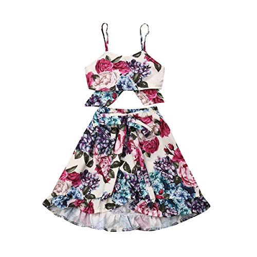 Toddler Baby Girls Ruffle Strap Top+Boho Floral Skirt Summer Outfit Clothes Two Piece Set (Full Floral-Hydrangea&Rose, 5-6T) (2 Piece Baby Girl Outfit)