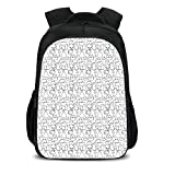 iPrint 15.7'' School Backpack,Cat,Lazy Furry Feline Doodles Sleeping Silly Playful Pets Whiskers Sketch Art Monochrome Decorative,Black White,for Teenagers Girls Boys