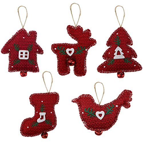 Cotton Christmas Ornaments - Athoinsu 5pcs Red Cotton Woven Christmas Tree Decorations Classic Xmas Tree Stocking Elk Robin Bird House Hanging Ornaments for Home Holiday Indoor Party Prop Seasonal Decor(Style 3)