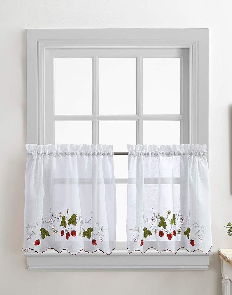 Strawberry Garden Kitchen Cafe Curtain Tier Pair, Rod Pocket, 30W x 24L inch, Red