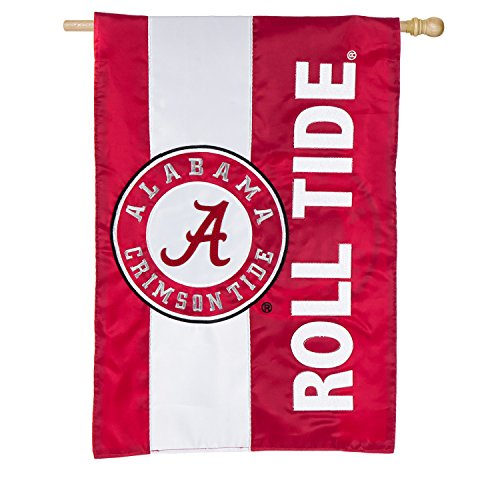 Banner Flag Team Football (Team Sports America University of Alabama Outdoor Safe Double-Sided Embroidered Logo Applique House Flag, 29 x 44 inches)