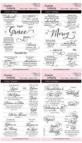 (Stamp Simply Clear Stamps Grace Mercy He Has Risen and Easter Christian Religious (4-Pack) 4x6 Inch Sheets - 30)