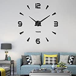 Vangold Decorative DIY Wall Clock, 2-Year Warranty Frameless Wall Clock with 3D Mirror Large Number for Living Room/Bedroom/Home Wall Decorations (Black-73)