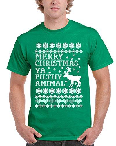 NineTeen, Merry Christmas Ya Filthy Animal Mens T-Shirt (XL, Green)