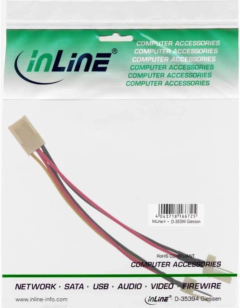 PC L/üfter Y-Adapterkabel//Verbindungskabel zu 2X Molex L/üfter-Buchse 1x 3-polig voll belegt /& 1x 2-polig belegt ohne Tachosignal Molex L/üfter-Stecker 3-polig