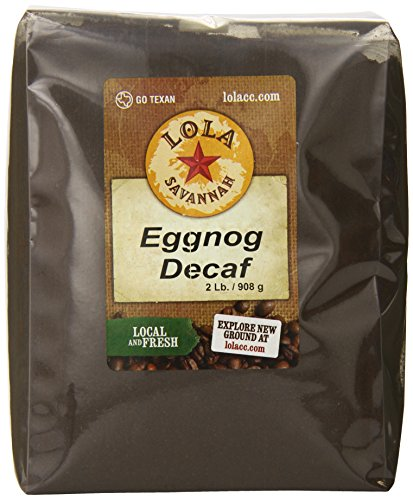 Lola Savannah Eggnog Flavored Ground Coffee - Roasted Arabica Beans Deliciously Crafted For Holiday Cheer Anytime Of Year | Decaf | 2lb Bag