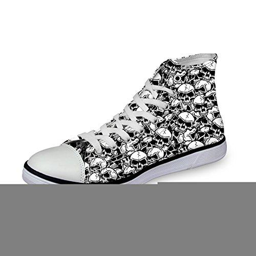 Voor Jou Ontwerpen Coole Schedelprint Casual High-top Heren / Dames Schoenen Lace Up Fashion Sneaker Zwart 2