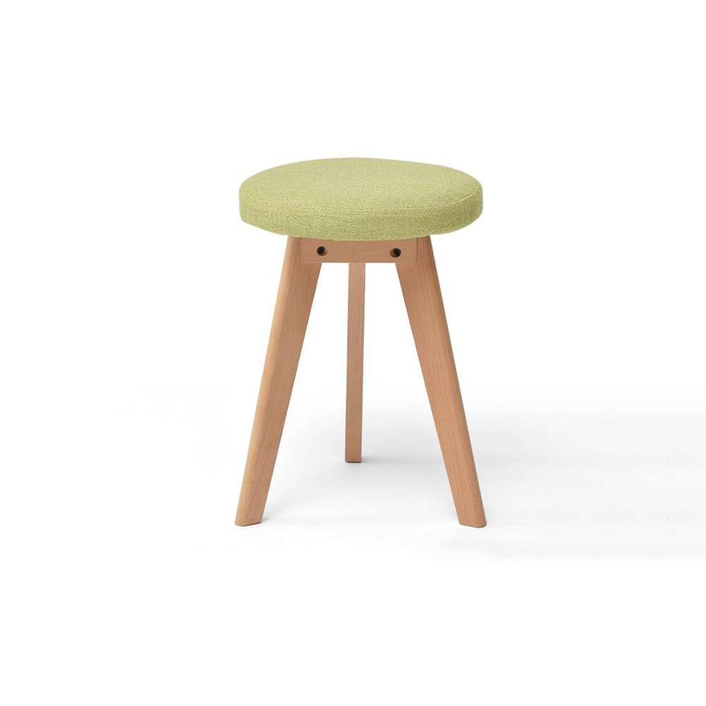 A MGMDIAN Solid wood stool creative stool fabric makeup stool table stool Nordic small bench Multifunctional wooden bench (color   D)