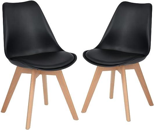 Comprar DORAFAIR Pack 2 sillas escandinava Estilo nórdico Silla de Comedor, con Las piernas de Madera de Haya Maciza y cojín cómoda,Negro