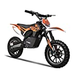 Electric Dirt Bike by MotoTec Features Variable Twist-Grip, Padded Seat, Adjustable Handlebars and Safety Brakes, Orange