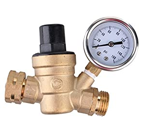 Water Pressure Regulator, Brass Lead-free Adjustable RV Water Pressure Reducer with Guage, By Velraptor from Velraptor