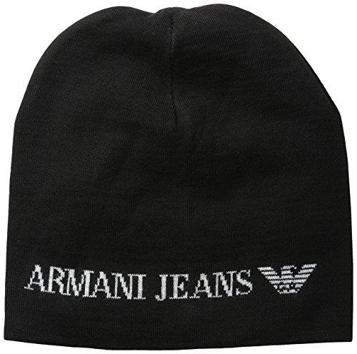 Armani Exchange Men's Wool Blend Knit Logo Hat, Black, One Size Black Logo Wool Blend