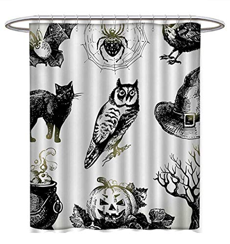 (Anhuthree Vintage Halloween Shower Curtains Waterproof Halloween Related Pictures Drawn by Hand Raven Owl Spider Black Cat Bathroom Set with Hooks W48 x L84 Black White)