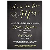 Bridal Shower Invitations, Soon to Be Mrs, Black, Yellow, White, Chalkboard, Blackboard, Hearts, Bride to Be, Future Mrs, Set of 10 Custom Printed Invites with Envelopes