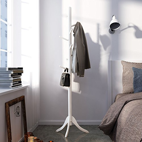 LCH Sturdy Standing Coat Rack Solid Rubber Wood Hall Tree Coat Tree with Tripod Base, 8 Hooks (White)