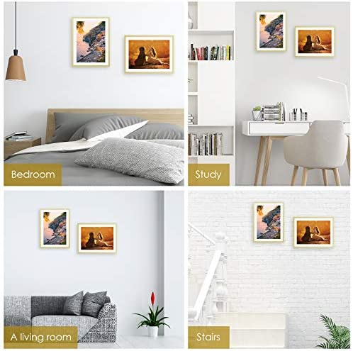 Homde 11x14 Picture Frames 2 PCS Made of High Real Glass for 8x10 with Mat or 11x14 Without Mat Table Top Display and Wall Mounting Aluminum Photo Frame Gold