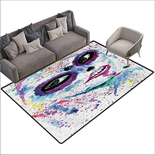Girl Bedroom Rug Girls Grunge Halloween Lady with Sugar Skull Make Up Creepy Dead Face Gothic Woman Artsy Easy to Clean W70 xL110 Blue Purple]()