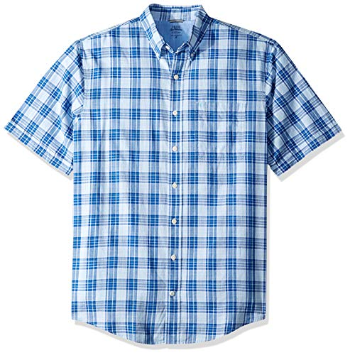 (IZOD Men's Big and Tall Saltwater Dockside Chambray Short Sleeve Button Down Plaid Shirt, Clear air, Large)