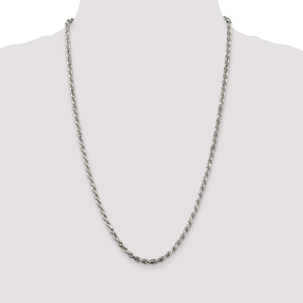 925 Sterling Silver 3.5mm Diamond-cut Rope Chain 16 Inch