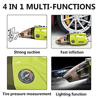 CarCome 4 in 1 Multifunctional Car Vacuum Cleaner, High Power 12V 120W Air Compressor Tire Inflator Handheld Car Vacuum Cleaner, Lightweight Wet Dry Vacuum for Home Pet Hair Car Cleaning: Home & Kitchen