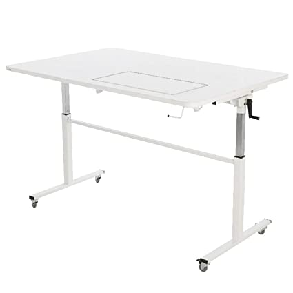 Sewing Table On Wheels.Arrow K9111 Tasmanian Kangaroo Sewing Table For Sewing Cutting Quilting And Crafting Portable With Wheels And Lift White Finish