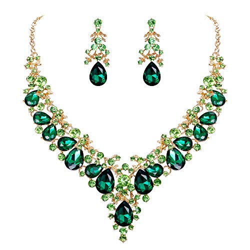 - EVER FAITH Women's Crystal Bridal Banquet Floral Cluster Teardrop Necklace Earrings Set Green Gold-Tone