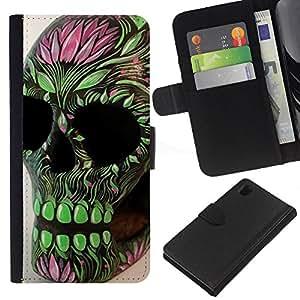Be-Star la tarjeta de Crédito Slots PU Funda de cuero Monedero caso cubierta de piel Para Sony Xperia Z1 L39 ( Green Pink Skull Floral Spring Death )