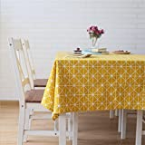 Meiwash Tablecloths Linen Rectangular Tablecloth Simple Style Twill Tablecloths Multi-purpose Indoor and Outdoor (Yellow, 130 * 180)