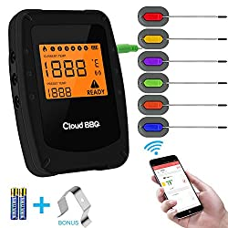 Wireless Meat Grill Thermometer Bluetooth Adapter For Ios Android Digital Wireless Thermometer Cooking Food With 6 Probes Meat Thermometer Bluetooth For Smokers Kitchen Grilling Oven Bbq Black S