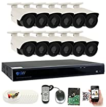 GW 4 Megapixel HD 1440P Complete Security System | (12) x 4MP Outdoor Bullet Security Cameras, 16-Channel Plug and Play 5-In-1 DVR, True 4MP HD 1440P Double the resolution of HD 2MP 1080P