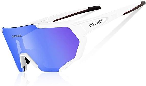 Queshark Gafas De Sol Polarizadas Para Ciclismo Con 3 Lentes Intercambiables Protección Uva Uvb Bicicleta De Carretera Mtb Gafas De Ciclismo Certificación Ce Amazon Es Ropa Y Accesorios