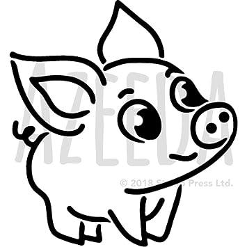 A5 Cute Pig Wall Stencil Template WS00029608
