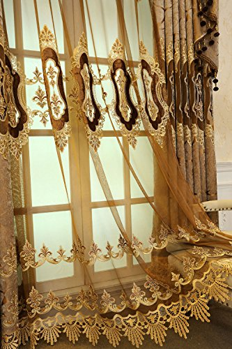 AiFish Luxury European Window Tulle Sheer Curtains for Parlor Rod Pocket Floral Macrame Edge Voile Elegant Home Decor Custom Organza Semi Sheer Panel Drapes for Patio Door 1 Piece Brown - Custom Panel Drape