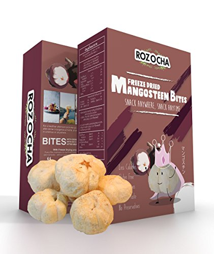 Rozocha Freeze Dried Mangosteen Bites 2.12 Ounce (0.53 Oz x 4 Count) Healthy Snack for Kids and all Ages