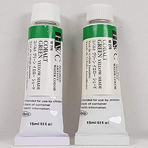 Holbein Artists Watercolor - Holbein Watercolor 15ml Tubes Paint for Artist Cobalt Green Yellow Shade - 2 in 1 Pack