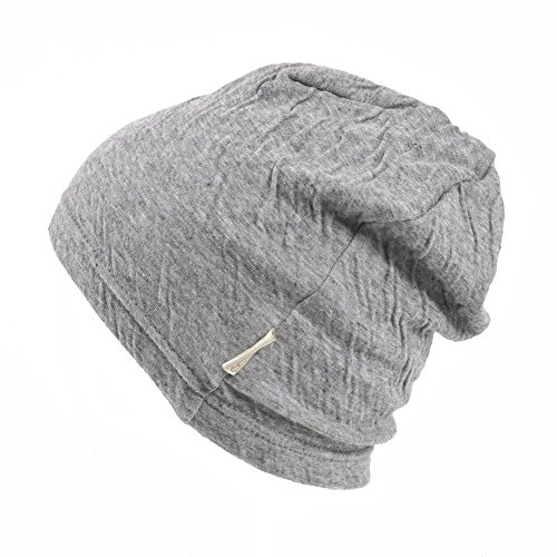 Baby Boys Slouchy Beanie - 100% Organic Cotton Soft Hypoallergenic Infant Toddler Girls Cap Made in Japan Light Gray