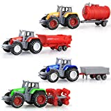 Per 4pcs Alloy Farm Tractors Set Toy Vehicles Gift Pack For Baby Toddlers Children Kids (Farm Tractors Set)