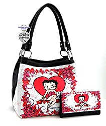 Betty Boop Medium Handbag Wallet Set, Heart with Flowers, Plus Key Chain (White)