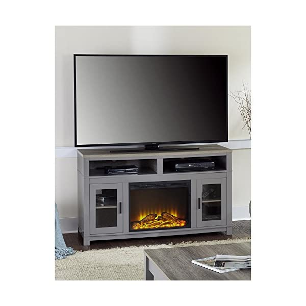 """Ameriwood Home Carver Electric Fireplace TV Stand for TVs up to 60"""" Wide, Gray"""