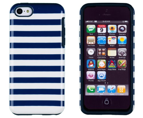 DandyCase 2in1 Hybrid High Impact Hard Navy Blue & White Stripe Pattern + Silicone Case Cover For Apple iPhone 5C + DandyCase Screen Cleaner