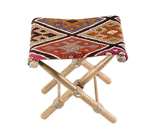 Portable bohemian stool, kilim rug chair and table (Kilim Stool)