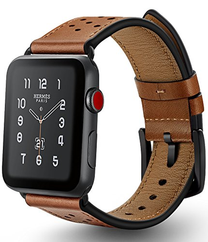 Apple Watch Band 42mm Leather, Ocyclone Genuine Leather Series Watch Band Strap Replacement for Apple watch 3 42mm, Stainless Steel Metal Black Adapter and Buckles, Black Dots - (Dot Buckle)