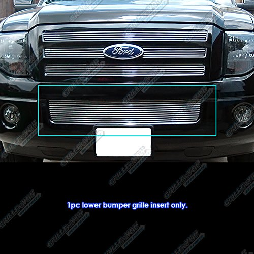(APS Compatible with 2007-2014 Ford Expedition Lower Bumper Billet Grille Grill Insert N19-A53356F)