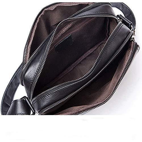 Color : Black NIKOLEKEENE Mens Genuine Leather Leisure Solid Color Shoulder Messenger Bag Cross Section Bag